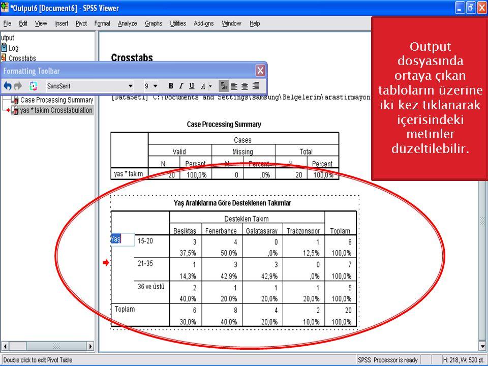 Output dosyasında ortaya çıkan tabloların üzerine iki kez tıklanarak içerisindeki metinler düzeltilebilir.