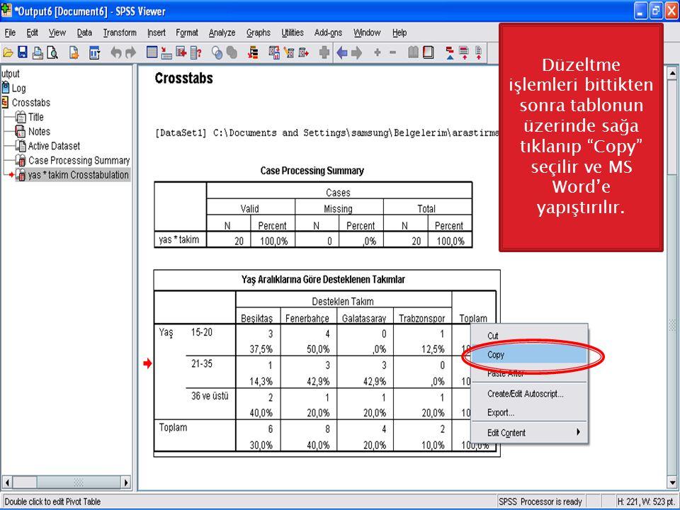 Düzeltme işlemleri bittikten sonra tablonun üzerinde sağa tıklanıp Copy seçilir ve MS Word'e yapıştırılır.