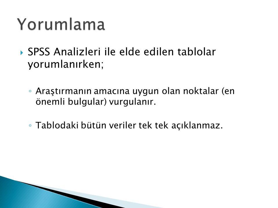 Yorumlama SPSS Analizleri ile elde edilen tablolar yorumlanırken;