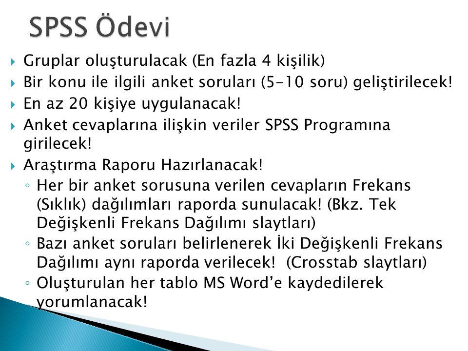 SPSS Ödevi Gruplar oluşturulacak (En fazla 4 kişilik)