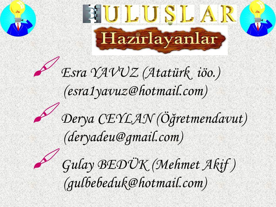 Esra YAVUZ (Atatürk iöo.) (esra1yavuz@hotmail.com)