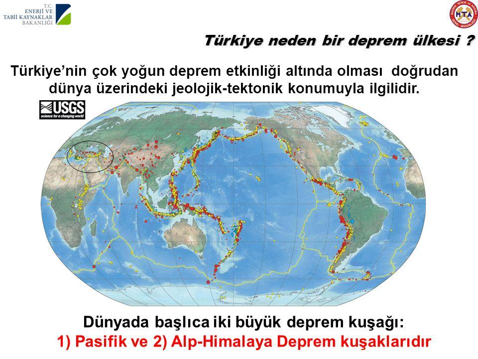 Dünyada başlıca iki büyük deprem kuşağı: