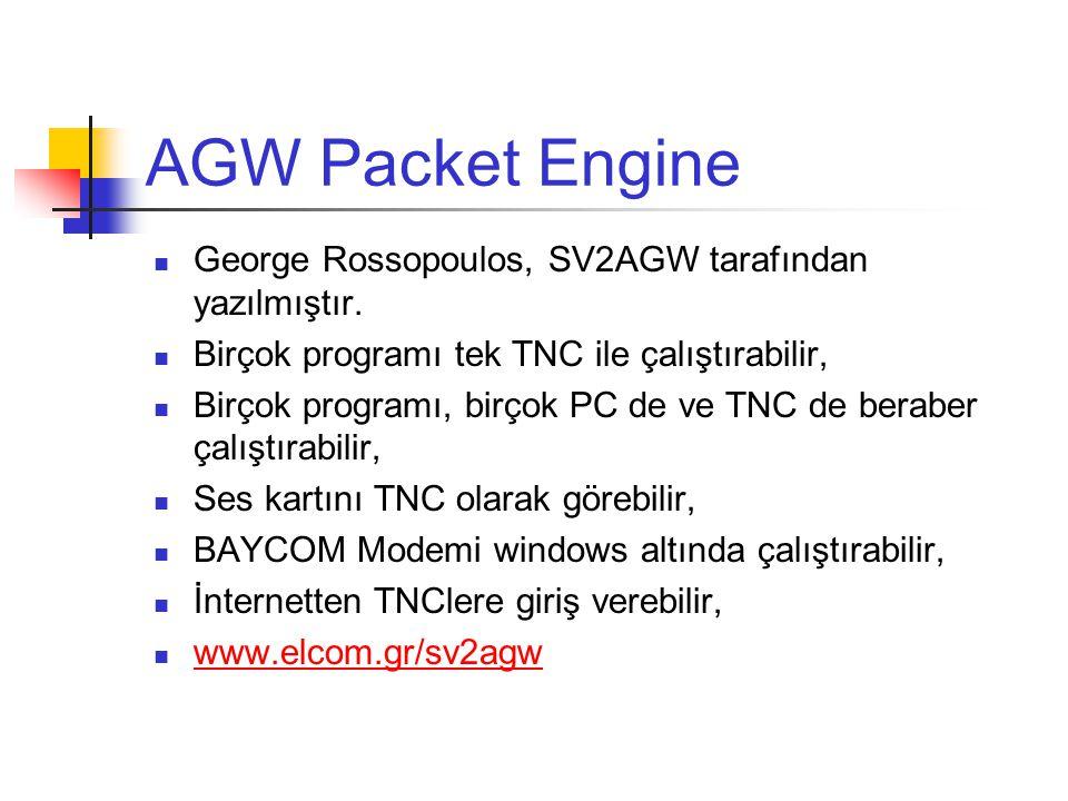AGW Packet Engine George Rossopoulos, SV2AGW tarafından yazılmıştır.