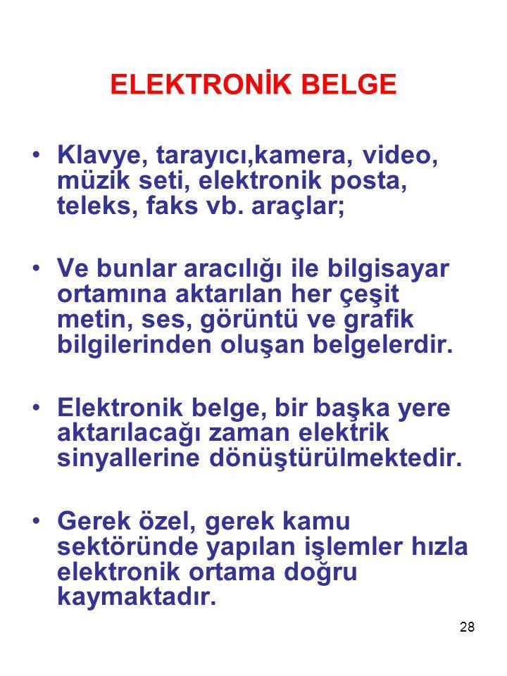ELEKTRONİK BELGE Klavye, tarayıcı,kamera, video, müzik seti, elektronik posta, teleks, faks vb. araçlar;