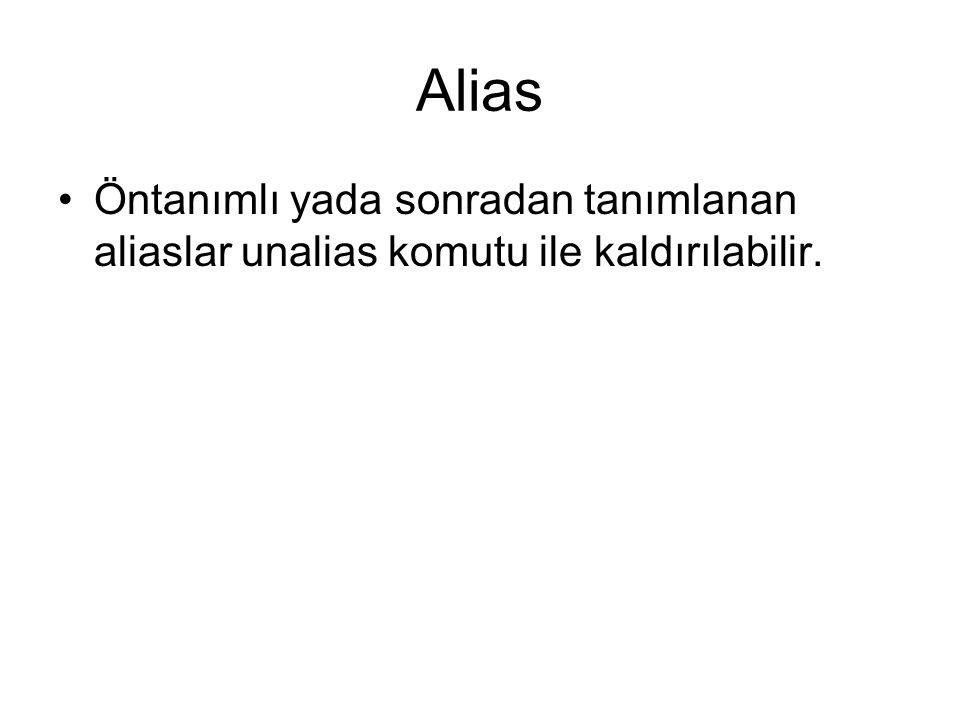 Alias Öntanımlı yada sonradan tanımlanan aliaslar unalias komutu ile kaldırılabilir.