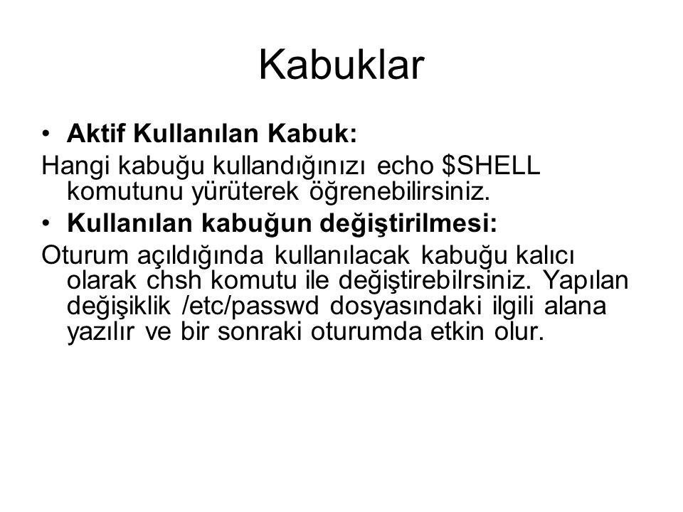 Kabuklar Aktif Kullanılan Kabuk: