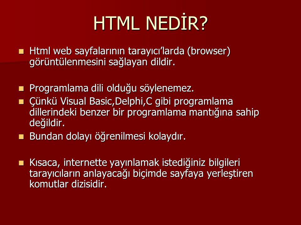 HTML NEDİR Html web sayfalarının tarayıcı'larda (browser) görüntülenmesini sağlayan dildir. Programlama dili olduğu söylenemez.
