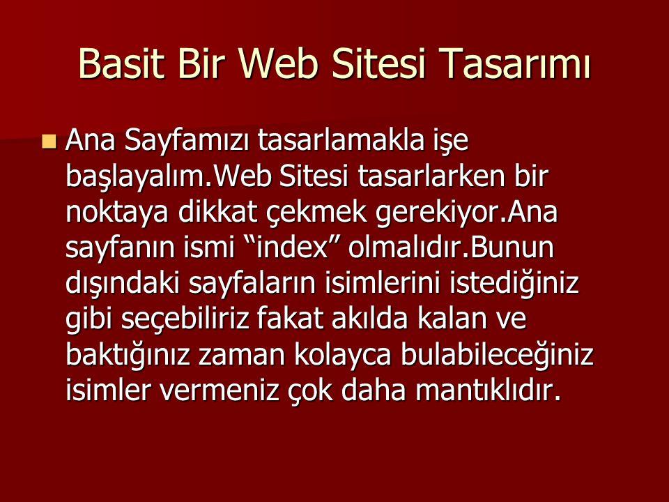 Basit Bir Web Sitesi Tasarımı
