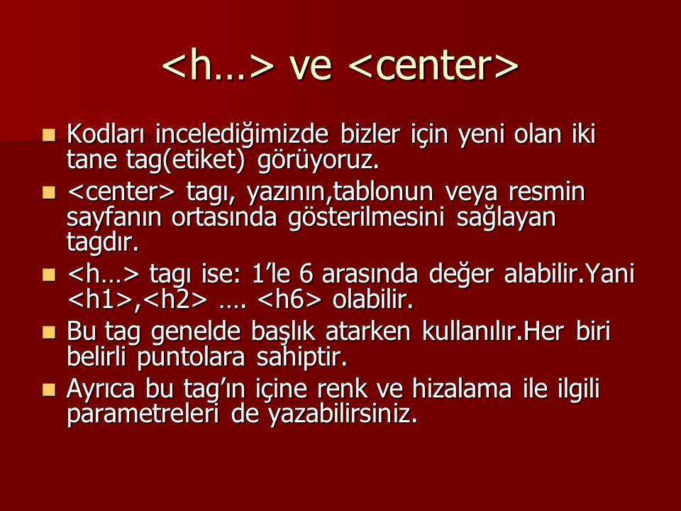 <h…> ve <center>