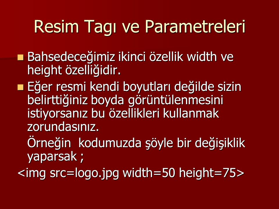 Resim Tagı ve Parametreleri