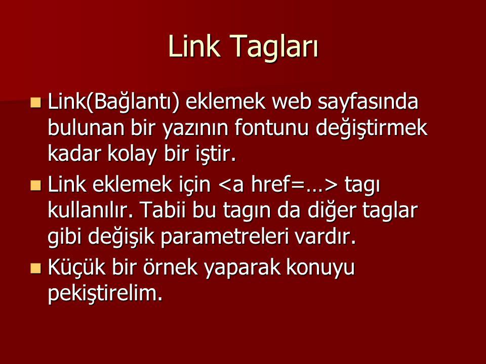 Link Tagları Link(Bağlantı) eklemek web sayfasında bulunan bir yazının fontunu değiştirmek kadar kolay bir iştir.