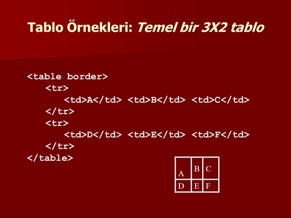 Tablo Örnekleri: Temel bir 3X2 tablo
