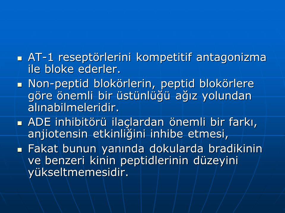 AT-1 reseptörlerini kompetitif antagonizma ile bloke ederler.