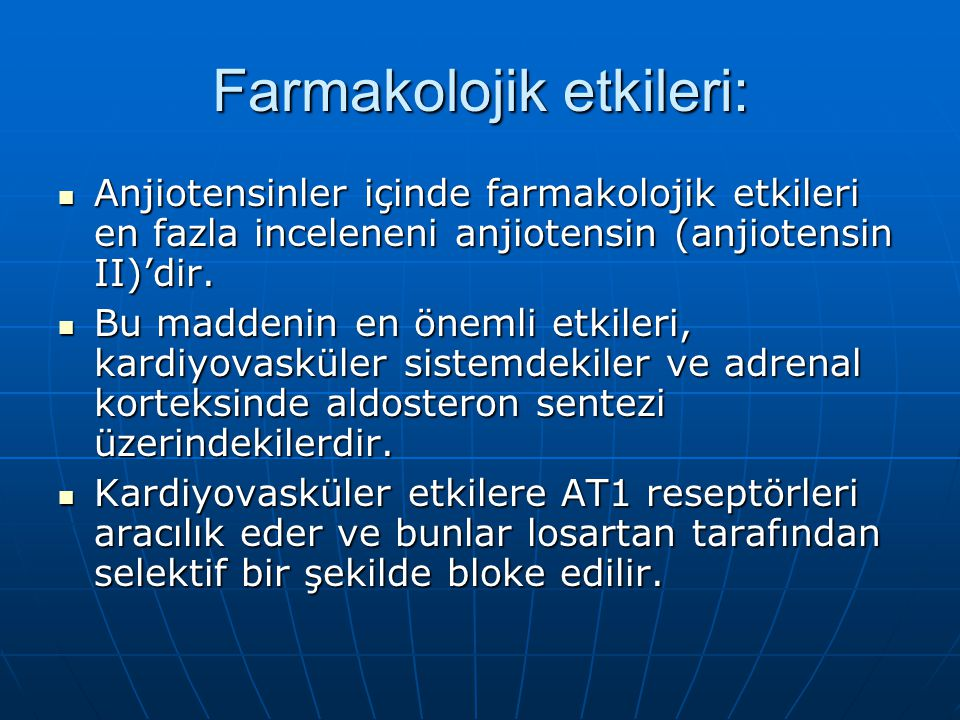 Farmakolojik etkileri: