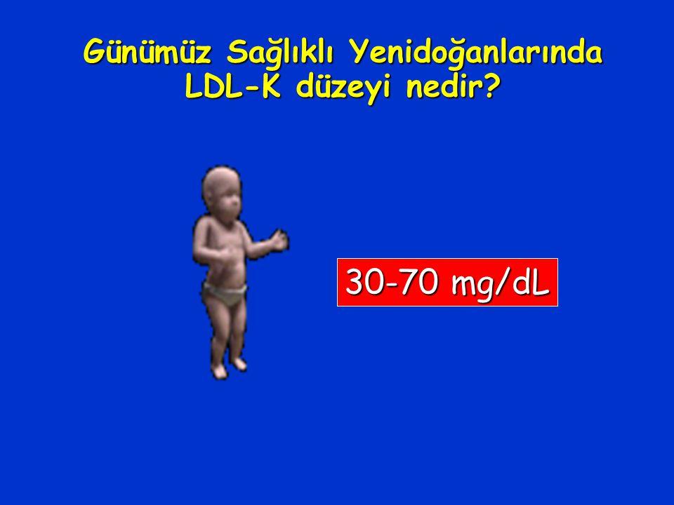 Günümüz Sağlıklı Yenidoğanlarında LDL-K düzeyi nedir