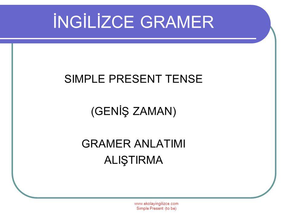İNGİLİZCE GRAMER SIMPLE PRESENT TENSE (GENİŞ ZAMAN) GRAMER ANLATIMI