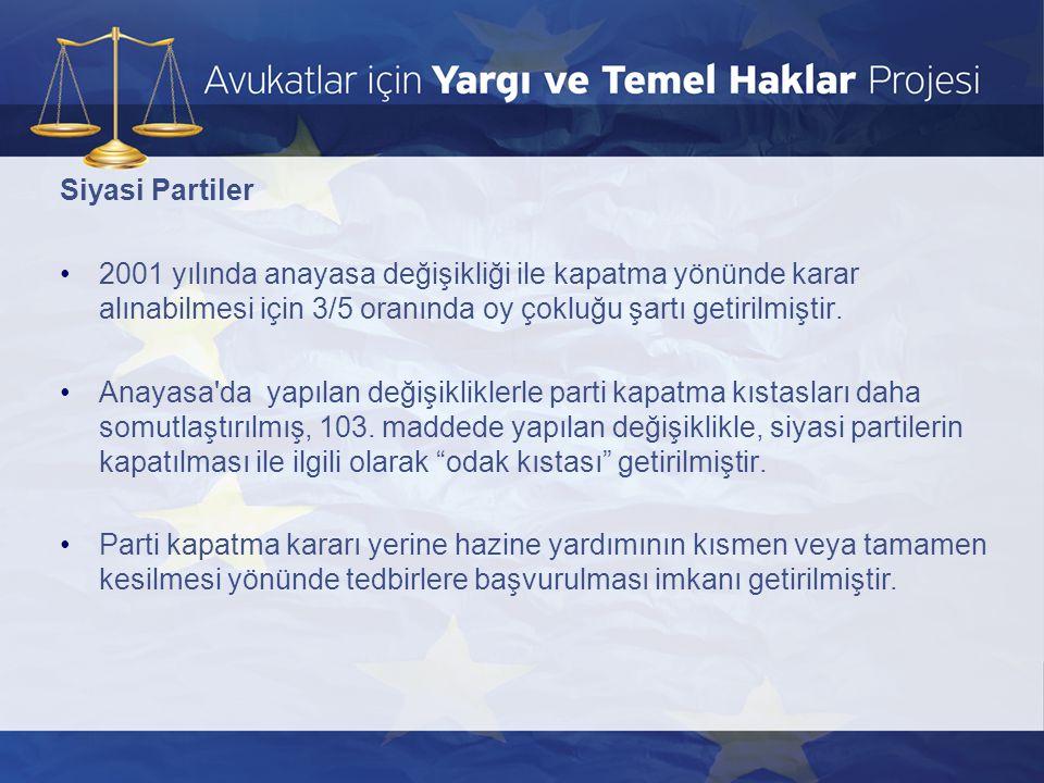 Siyasi Partiler 2001 yılında anayasa değişikliği ile kapatma yönünde karar alınabilmesi için 3/5 oranında oy çokluğu şartı getirilmiştir.