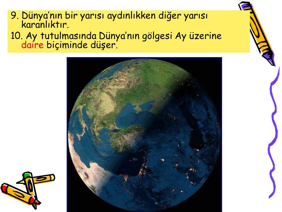9. Dünya'nın bir yarısı aydınlıkken diğer yarısı karanlıktır.
