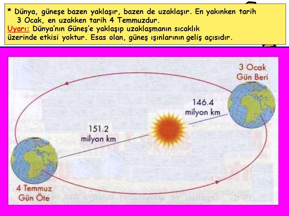 * Dünya, güneşe bazen yaklaşır, bazen de uzaklaşır. En yakınken tarih