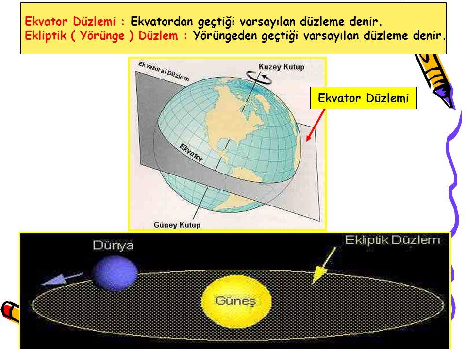 Ekvator Düzlemi : Ekvatordan geçtiği varsayılan düzleme denir.