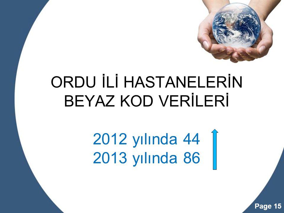 ORDU İLİ HASTANELERİN BEYAZ KOD VERİLERİ 2012 yılında 44 2013 yılında 86
