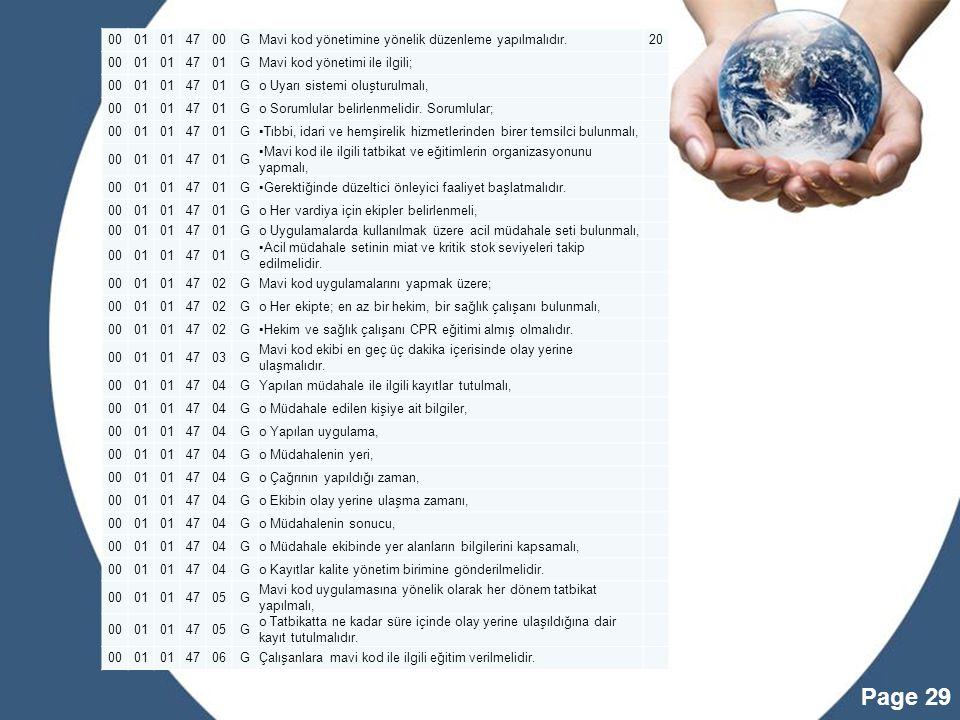 00 01. 47. G. Mavi kod yönetimine yönelik düzenleme yapılmalıdır. 20. Mavi kod yönetimi ile ilgili;