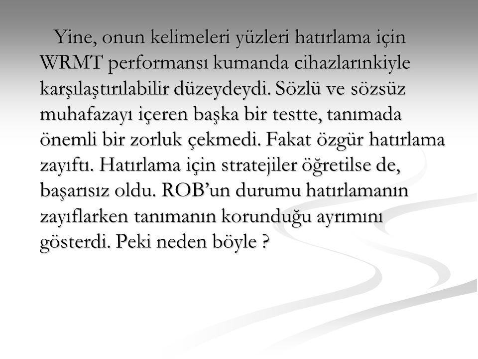 Yine, onun kelimeleri yüzleri hatırlama için WRMT performansı kumanda cihazlarınkiyle karşılaştırılabilir düzeydeydi.