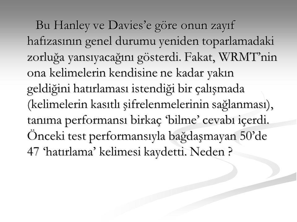 Bu Hanley ve Davies'e göre onun zayıf hafızasının genel durumu yeniden toparlamadaki zorluğa yansıyacağını gösterdi.