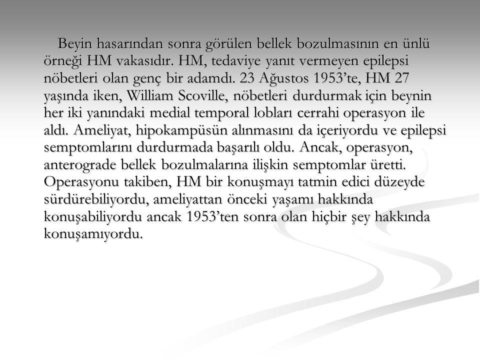 Beyin hasarından sonra görülen bellek bozulmasının en ünlü örneği HM vakasıdır.