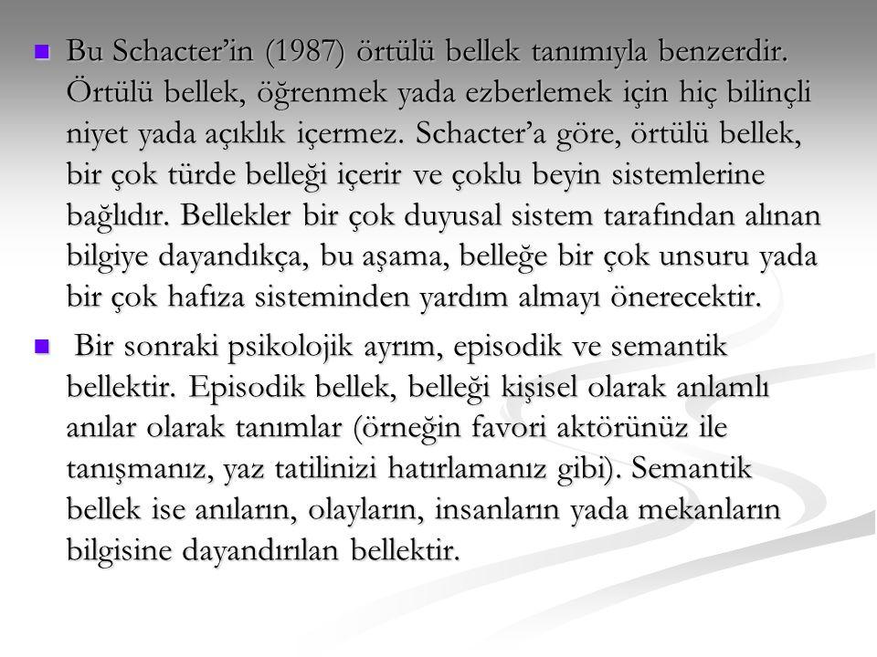 Bu Schacter'in (1987) örtülü bellek tanımıyla benzerdir