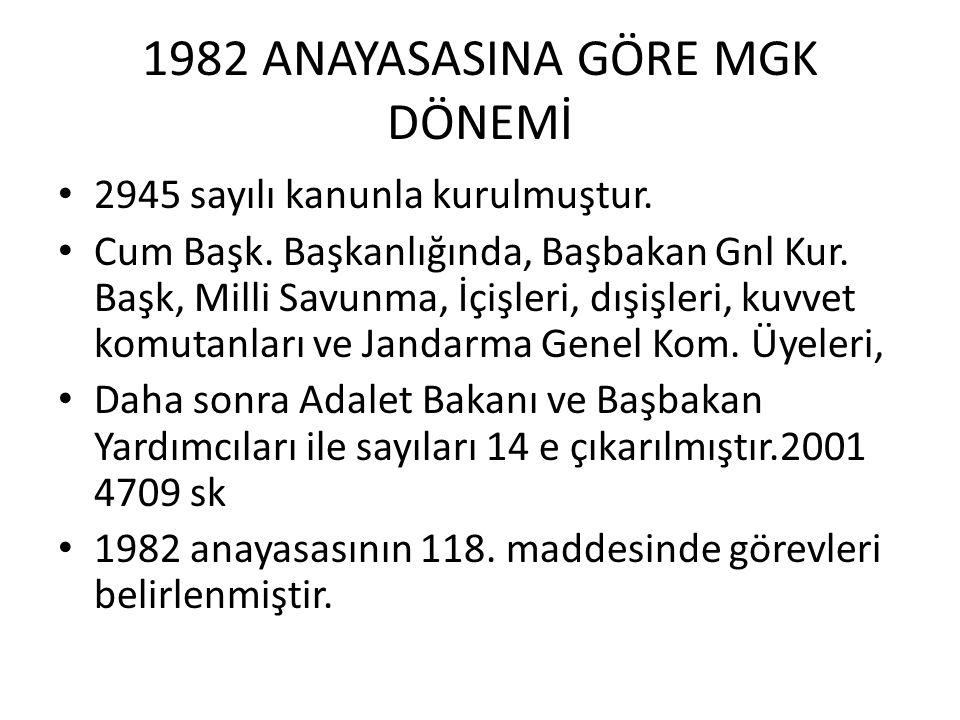 1982 ANAYASASINA GÖRE MGK DÖNEMİ