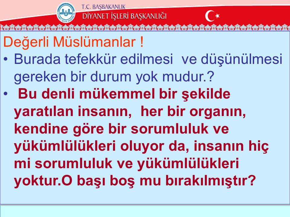 Değerli Müslümanlar ! Burada tefekkür edilmesi ve düşünülmesi gereken bir durum yok mudur.