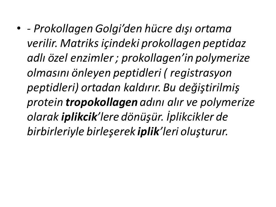 - Prokollagen Golgi'den hücre dışı ortama verilir