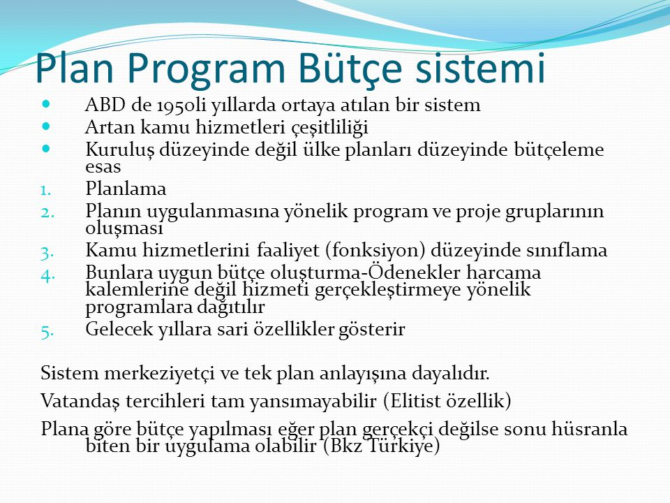 Plan Program Bütçe sistemi