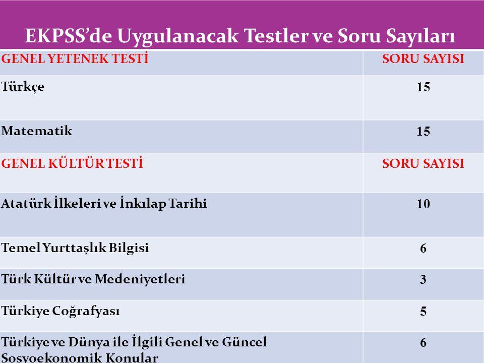 EKPSS'de Uygulanacak Testler ve Soru Sayıları