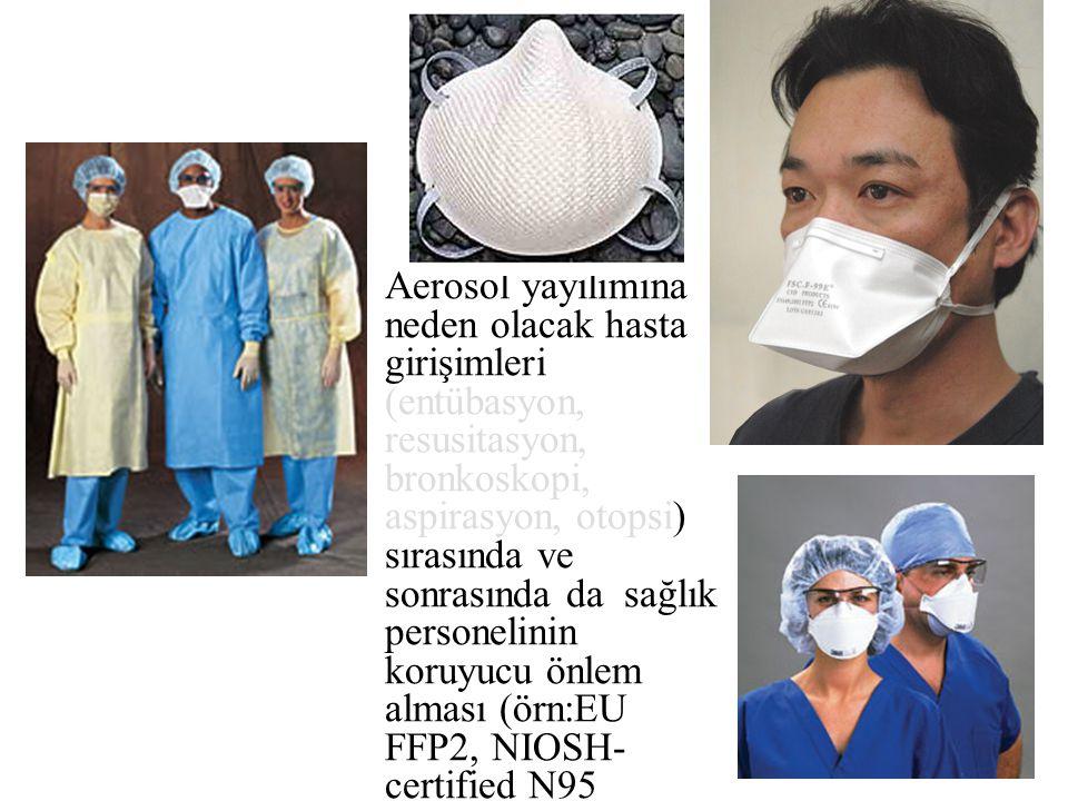 Aerosol yayılımına neden olacak hasta girişimleri (entübasyon, resusitasyon, bronkoskopi, aspirasyon, otopsi) sırasında ve sonrasında da sağlık personelinin koruyucu önlem alması (örn:EU FFP2, NIOSH-certified N95