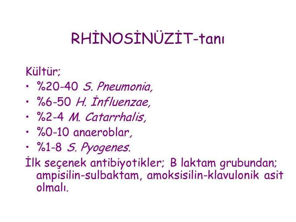 RHİNOSİNÜZİT-tanı Kültür; %20-40 S. Pneumonia, %6-50 H. İnfluenzae,