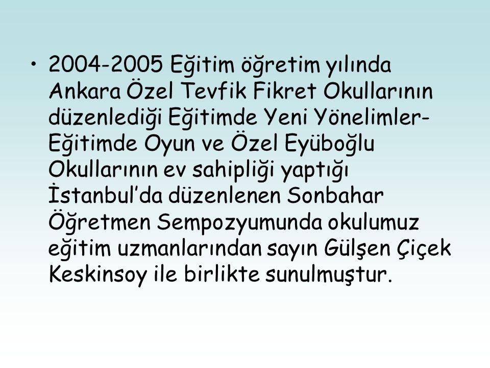 2004-2005 Eğitim öğretim yılında Ankara Özel Tevfik Fikret Okullarının düzenlediği Eğitimde Yeni Yönelimler- Eğitimde Oyun ve Özel Eyüboğlu Okullarının ev sahipliği yaptığı İstanbul'da düzenlenen Sonbahar Öğretmen Sempozyumunda okulumuz eğitim uzmanlarından sayın Gülşen Çiçek Keskinsoy ile birlikte sunulmuştur.