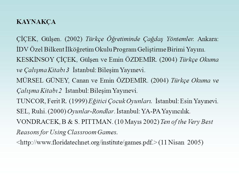 KAYNAKÇA ÇİÇEK, Gülşen. (2002) Türkçe Öğretiminde Çağdaş Yöntemler. Ankara: İDV Özel Bilkent İlköğretim Okulu Program Geliştirme Birimi Yayını.