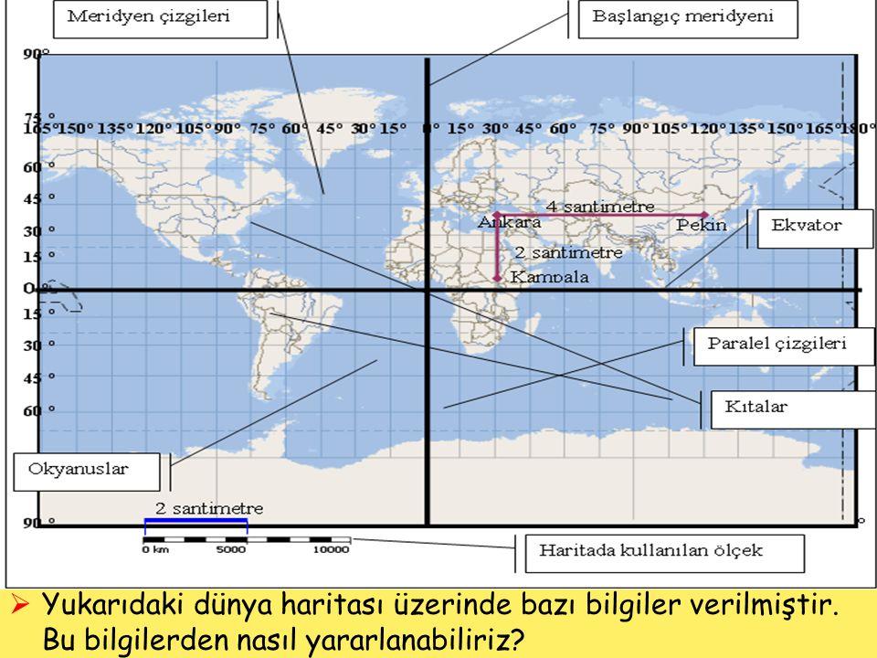 Yukarıdaki dünya haritası üzerinde bazı bilgiler verilmiştir