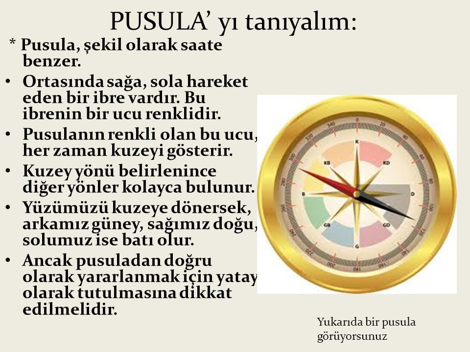 PUSULA' yı tanıyalım: * Pusula, şekil olarak saate benzer.