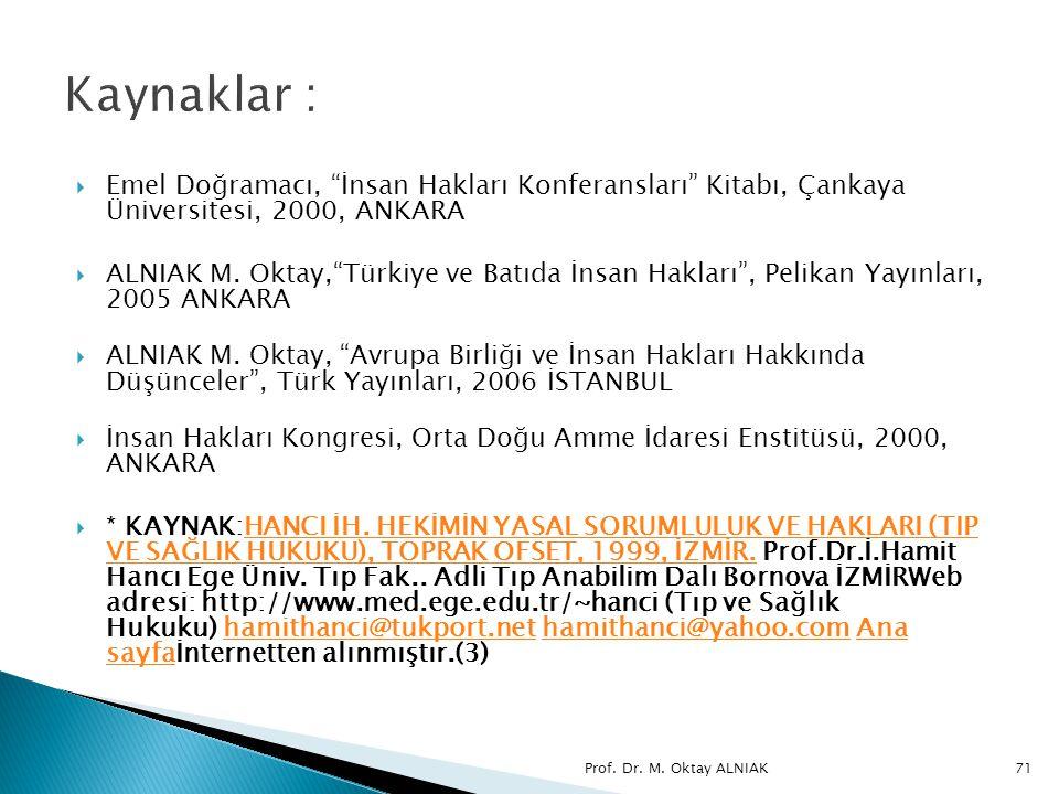 Kaynaklar : Emel Doğramacı, İnsan Hakları Konferansları Kitabı, Çankaya Üniversitesi, 2000, ANKARA.