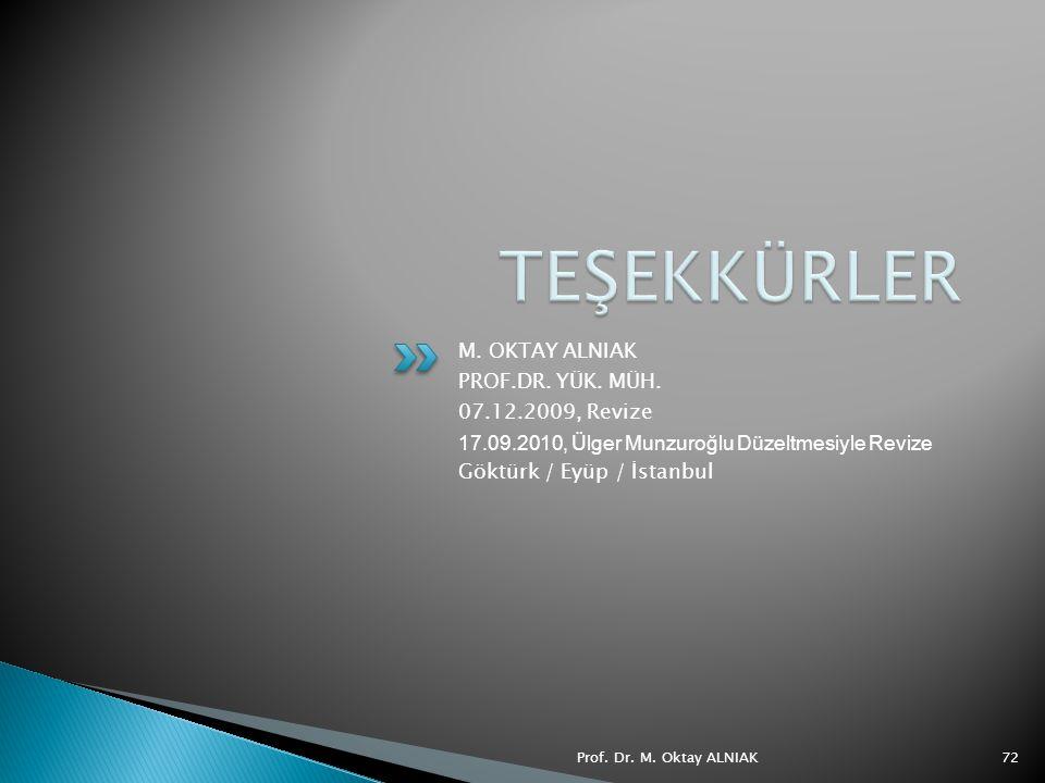 TEŞEKKÜRLER M. OKTAY ALNIAK PROF.DR. YÜK. MÜH. 07.12.2009, Revize