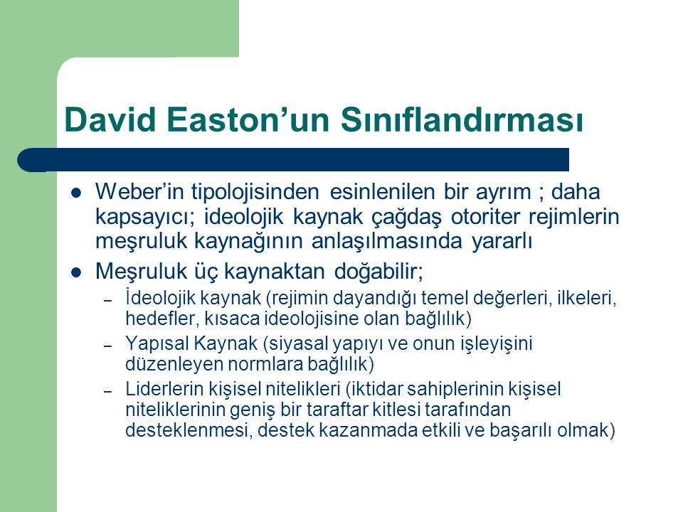 David Easton'un Sınıflandırması