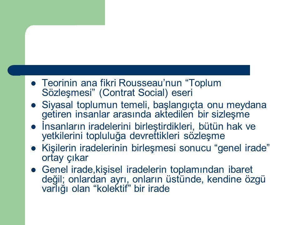 Teorinin ana fikri Rousseau'nun Toplum Sözleşmesi (Contrat Social) eseri