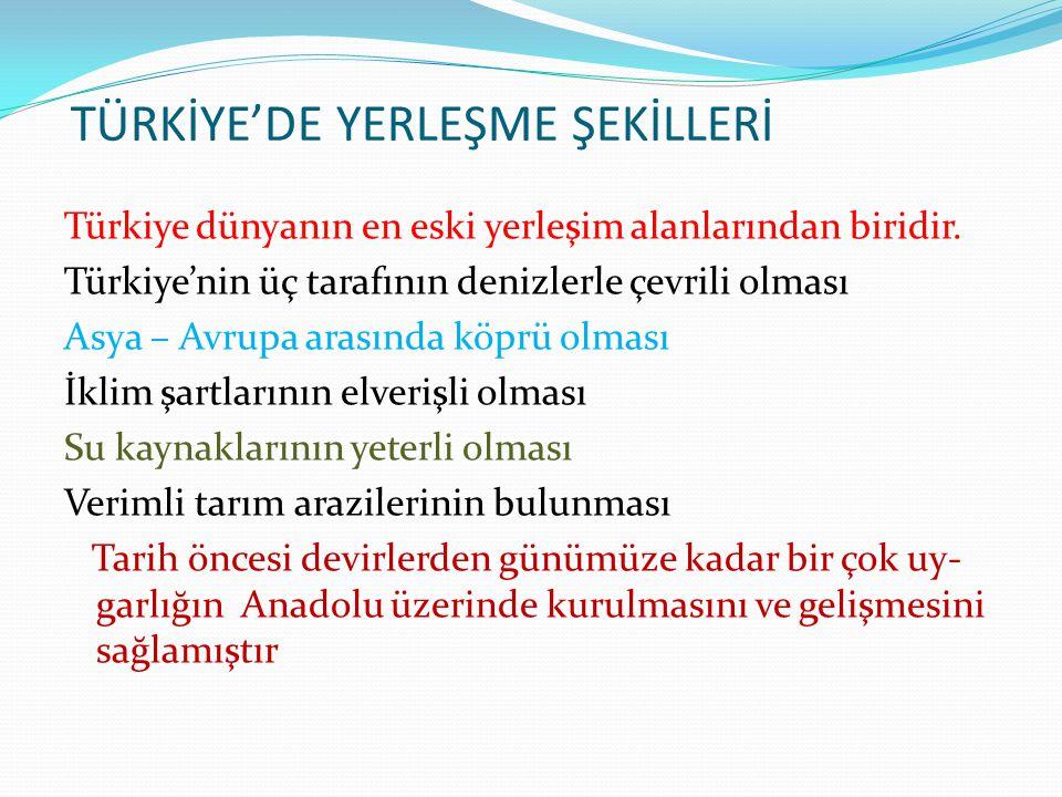 TÜRKİYE'DE YERLEŞME ŞEKİLLERİ