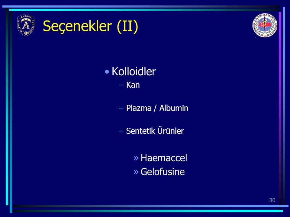 Seçenekler (II) Kolloidler Haemaccel Gelofusine Kan Plazma / Albumin