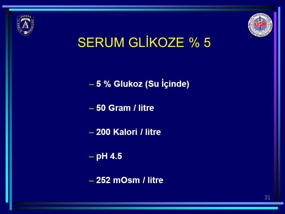 SERUM GLİKOZE % 5 5 % Glukoz (Su İçinde) 50 Gram / litre