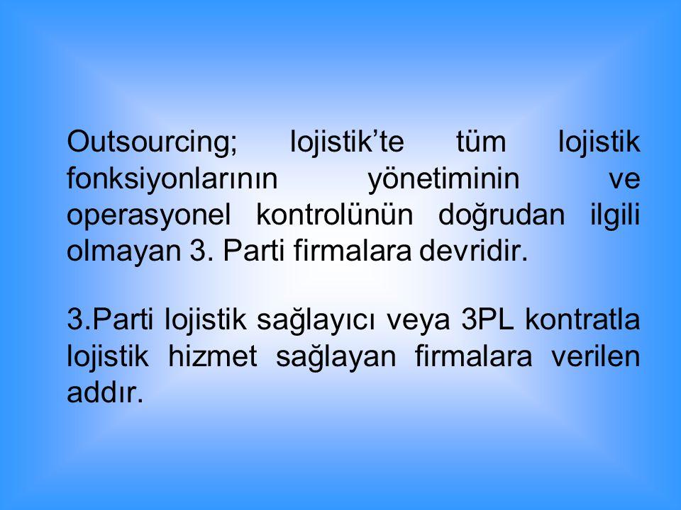 Outsourcing; lojistik'te tüm lojistik fonksiyonlarının yönetiminin ve operasyonel kontrolünün doğrudan ilgili olmayan 3. Parti firmalara devridir.