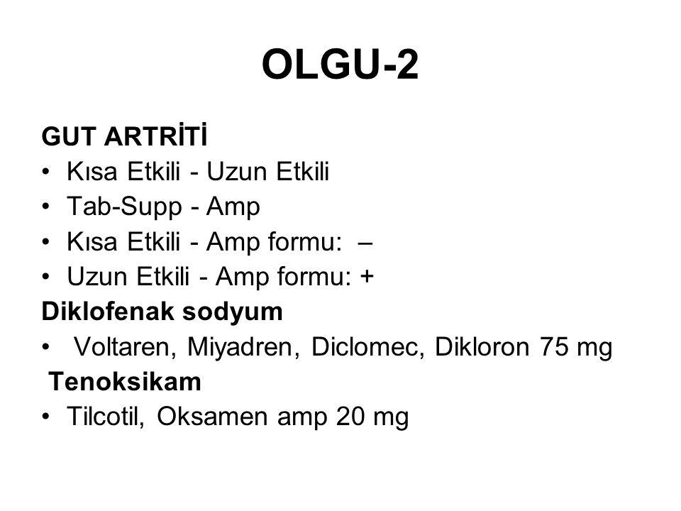 OLGU-2 GUT ARTRİTİ Kısa Etkili - Uzun Etkili Tab-Supp - Amp